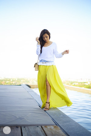 white Gap sweater - yellow Choies skirt