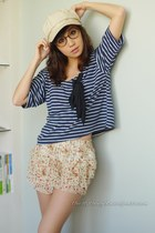 navy WAGW top - cream WAGW skirt - cream WAGW hat - dark brown WAGW accessories