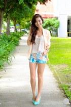 sky blue Sheinside shorts - turquoise blue comfit heels