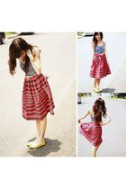 blue httpwagwmultiplycom dress - red jackie tan skirt - gold Suelas shoes