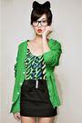 Green-wagw-for-her-man-cardigan-green-h20-top-black-iwearsin-skirt