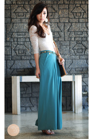 turquoise blue romwe pants - dark brown Louis Vuitton bag - cream Topshop top