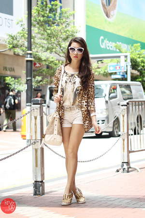 gold j&m shoes - brown glam effect blazer - white Gap shorts