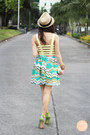 Light-yellow-motel-rocks-top-aquamarine-sabrina-skirt-chartreuse-r-heels
