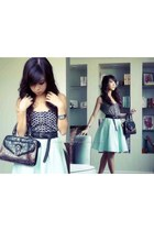 black WAGW top - aquamarine f21 skirt - black f21 belt - dark brown vintage bag