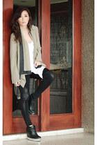 lime green romwe blazer - black felicee leggings - white WAGW top