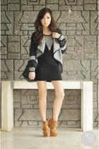 black romwe jacket - dark khaki stylomylo boots - black Alexander McQueen bag