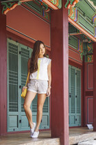white WAGW top - silver Guess shorts - white Kate Spade for Keds sneakers