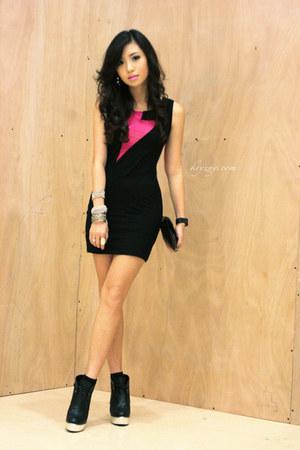 black Five By Five wedges - black WAGW dress - black Mauve bag