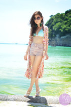 coral Clothes Off cardigan - aquamarine Roxy swimwear - white Mel sandals