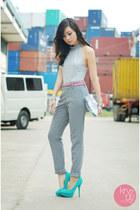 silver Zara bag - aquamarine ffaq heels - bubble gum Rustans belt