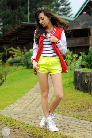 red Jacket jacket - yellow romwe shorts - silver Choies sneakers