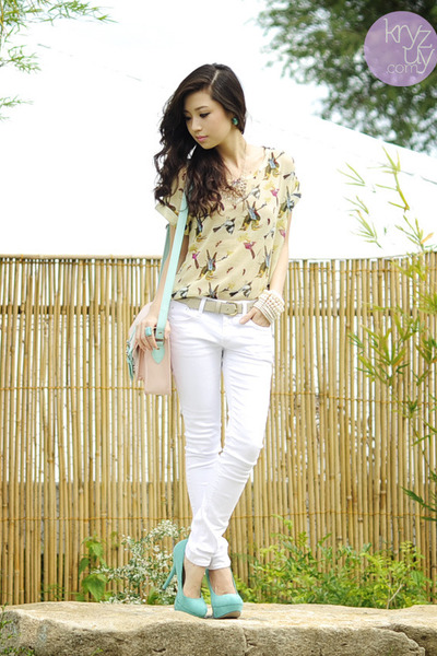 light pink Dazzled bag - white Yesstyle jeans - white sm accessories bracelet