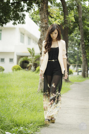 black romwe pants - cream House of Eva cardigan - black Topshop top