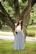 blue Flaunt Label skirt - ivory H&M top