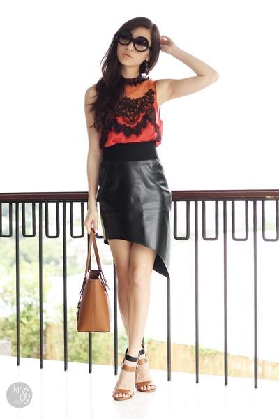 orange To Love Kuvaa top - brown Michael Kors bag - black my spirit inc skirt