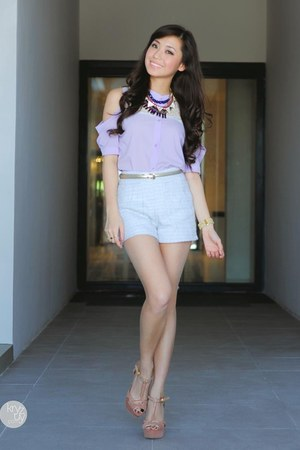 white WAGW shorts - periwinkle WAGW top - tan Charles and Keith heels