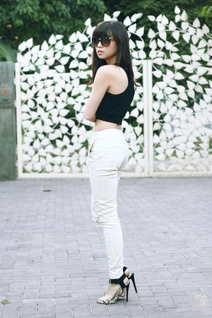 black Mango top - off white Mango pants
