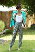 turquoise blue Mango blazer - white Mango top - charcoal gray Mango pants