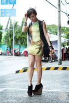 black Alexander McQueen bag - lime green Motel Rocks dress - white romwe vest
