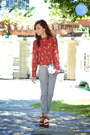 Silver-zara-bag-red-berrybow-top-periwinkle-zara-pants