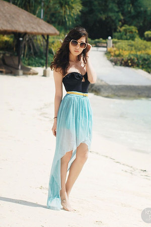 black H&amp;M swimwear - sky blue Love skirt