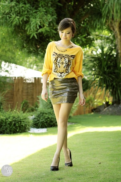 yellow indressme sweater - olive green windsor skirt