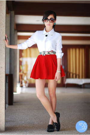 red clothes for the goddess skirt - white Oh my Frock top - black romwe flats