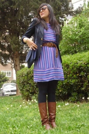 vintage dress - Urban Outfitters blazer - vintage boots - Urban Outfitters purse