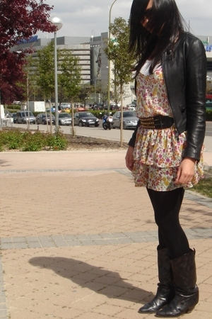 Criminal jacket - Zara dress - vintage boots - Sfera belt