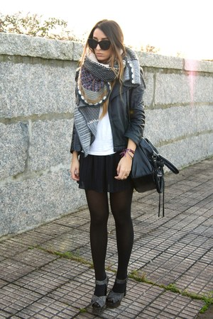 olive green Zara scarf - charcoal gray Topshop shoes - black Zara jacket
