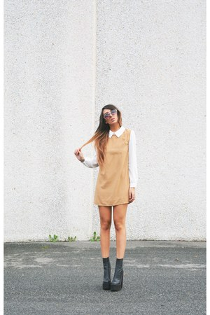 black mulder Jeffrey Campbell boots - camel OASAP dress