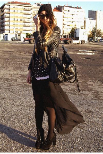 black Zara skirt - black Fox House shoes - black Zara top