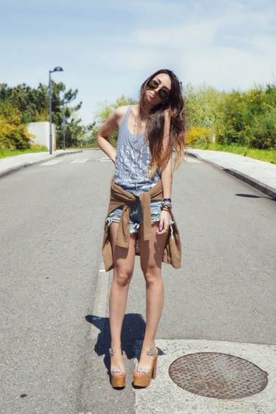 white Jeffrey Campbell shoes - blue Sheinside shorts