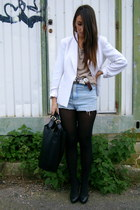 cream Zara sweater - white vintage blazer - black leather Zara bag