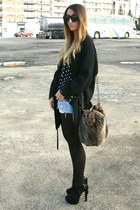 brown Zara bag - black Office shoes - black Zara coat - black Zara shirt