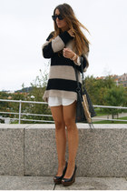 camel Bershka jumper - black Zara shoes - ivory Zara dress