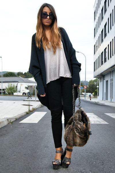 dark brown furry Zara bag - gray podium Topshop shoes - navy wool Bershka jacket