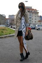 black H&M boots - camel trench Stradivarius coat - ivory skull McQueen scarf - d