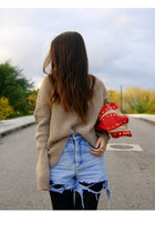 ruby red studded Zara bag - camel Bershka jumper