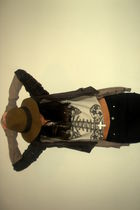 brown Indiana Jones hat - beige Zara cardigan - brown Zara jacket - white Zara t