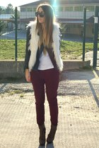 white Zara vest - crimson Zara pants
