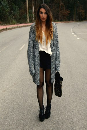 black Pixie cardigan - black Fox House heels
