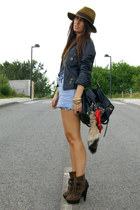 dark brown Aldo boots - black leather Zara jacket - navy Zara shirt - periwinkle