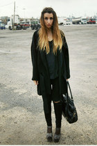 gray Topshop shoes - black Zara coat