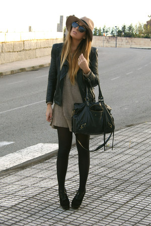 dark khaki Zara sweater - black Fox House shoes - black Zara jacket