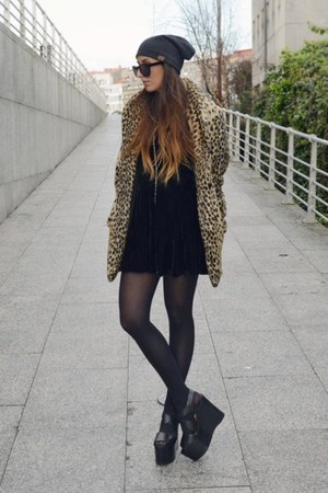 orange leopard asos coat - black extreme River Island shoes
