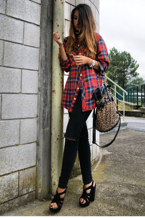 red flannel Zara shirt - black Office shoes