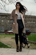dark brown Aldo boots - camel Zara coat - black leather vintage skirt - heather