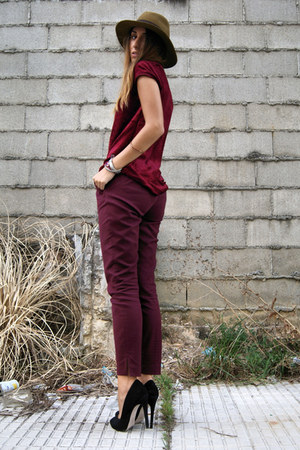 crimson Zara pants - black Topshop shoes - crimson velvet Zara top